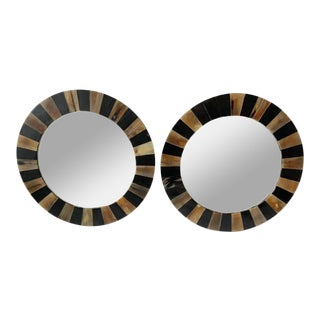 Pair of Round Horn Mirrors For Sale