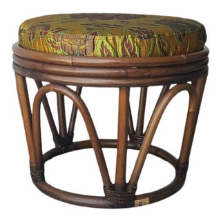 1980s Bentwood Rattan Ottoman For Sale