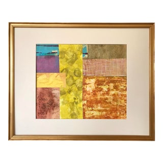 Vintage Abstract Mixed Media Painting Collage For Sale