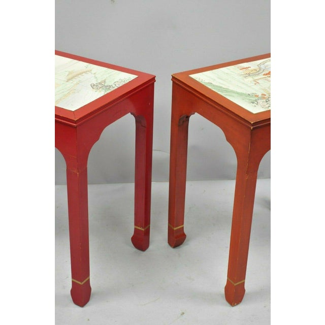 Red Vintage Oriental Ming Style Red Wooden Side End Tables With Tile Tops - A Pair For Sale - Image 8 of 11