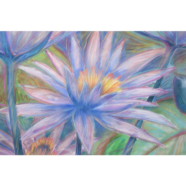 Boho Chic Large Tropical Flowers Color Pastel Drawing #1 by Patricia McGeeney For Sale - Image 3 of 8