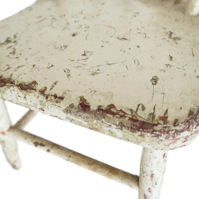 Vintage White Wooden Children's Chair Seat For Sale - Image 4 of 5