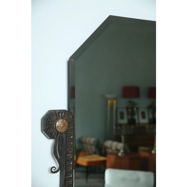 Bronze Pair of French Art Deco Hammered Steel and Bronze Mirrors, Paul Kiss For Sale - Image 7 of 9