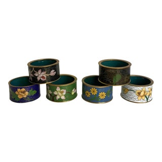 Set of 6 Vintage Asian Cloisonné Napkin Rings For Sale