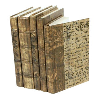 Antique Script Gold Books - Set of 5 For Sale