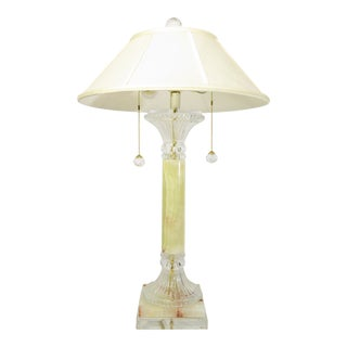 Late 20th Century Contemporary Lucite, Onyx and Crystal Table Lamp For Sale