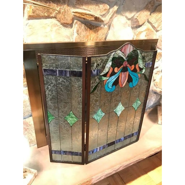 Traditional Stained Glass Fire Screen For Sale - Image 3 of 9