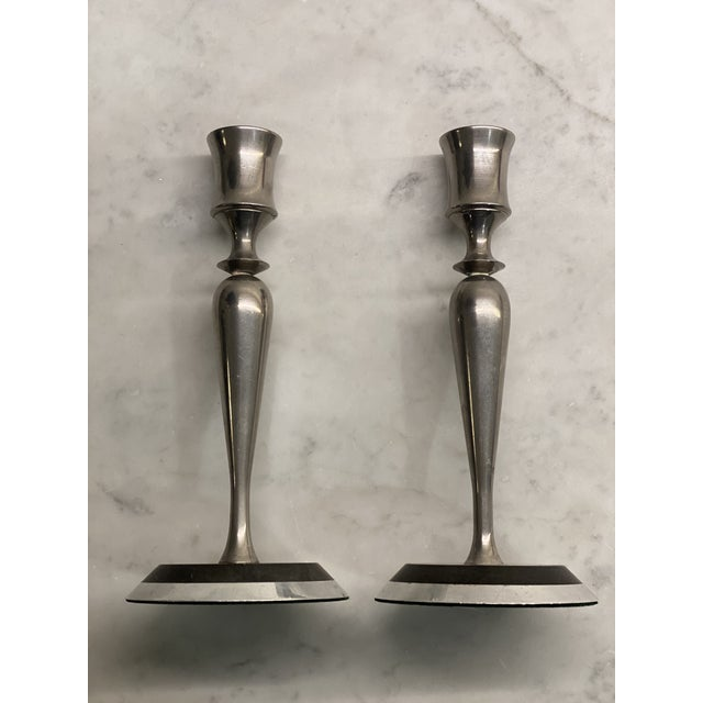 Mid-Century Metal and Stone Candlesticks - a Pair For Sale - Image 9 of 9