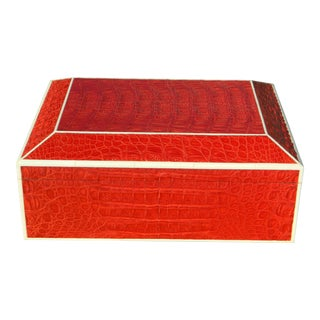 Red Crocodile Bone Inlay Humidor Box For Sale