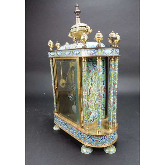 "Early 20th Century Chinese Export Bronze and Cloisonné Mantle Clock Excellent Working Condition 19"" For Sale - Image 5 of 13"