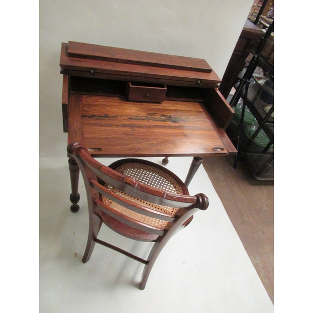 1930s Children's Spinet Flip Top Walnut Writing Desk with Caned Chair For Sale - Image 10 of 13