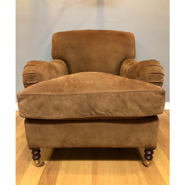 This George Smith Standard Arm Chair is in a beautiful cocoa colored suede leather. The suede is in great shape and...