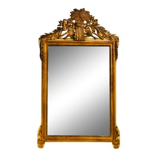 19th Century Gilt Wood Mirror With Wheat Crest For Sale