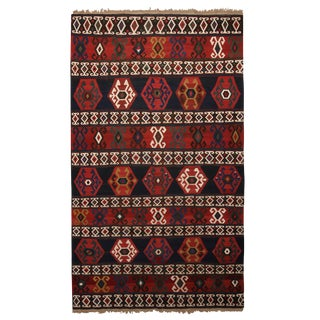 "Antique Geometric Burgundy Wool Kilim Rug-7'3'x12'6"" For Sale"