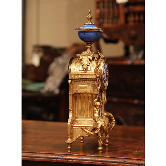 19th Century French Louis XVI Gilt Metal and Porcelain Mantel Clock For Sale In Dallas - Image 6 of 11