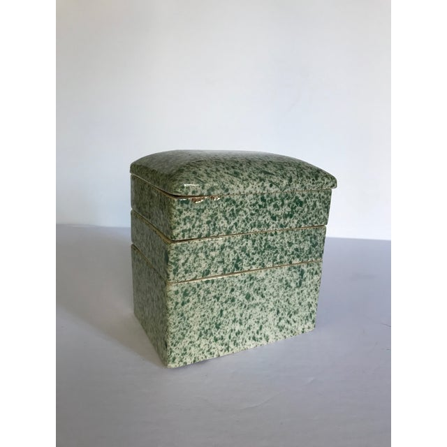Antique Stacking Green Speckled Porcelain Container For Sale In Austin - Image 6 of 8