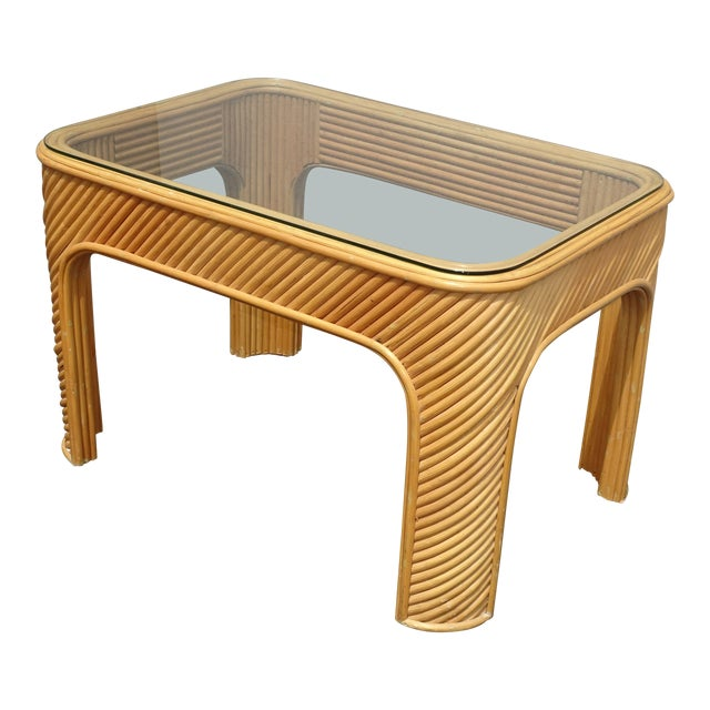 Vintage Mid Century Modern Split Bamboo Rattan Coffee End Table For Sale