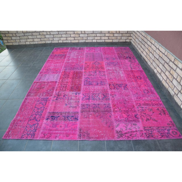 Pink Overdyed Turkish Anatolian Patchwork Carpet - 7′1″ × 10′ For Sale - Image 11 of 11