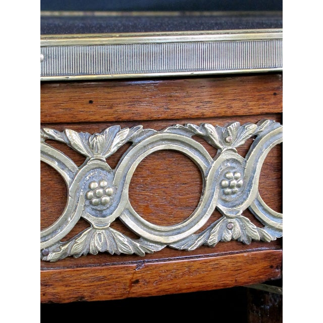 Late 19th Century Elegant French Louis XVI Style Mahogany Circular Side Table With Brass Mounts For Sale - Image 5 of 7