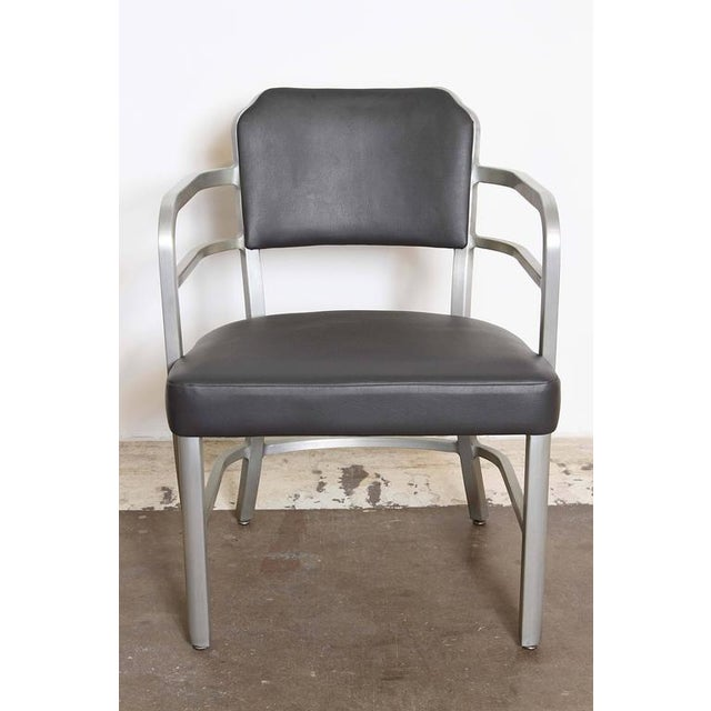 Gray Pair of Machine Age Art Deco Leather GoodForm Armchairs Brushed Aluminum For Sale - Image 8 of 11