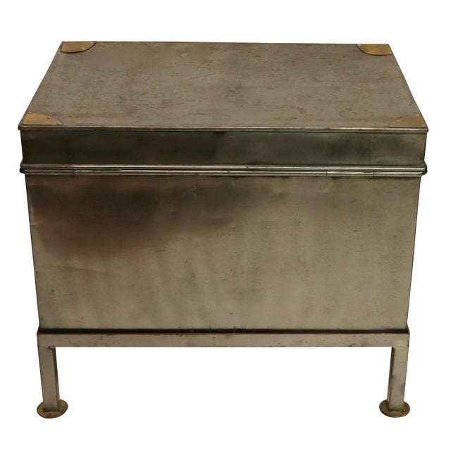 19th Century Polished Steel Trunk on Stand For Sale - Image 4 of 12