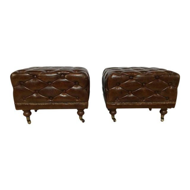 Leather Chesterfield Footstools - a Pair For Sale