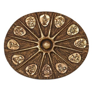 Brutalist Large Zodiac Astrology Wall Hanging Sculpture J. Segura Finesse Originals For Sale