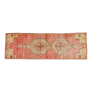 "1930s Turkish Red and Goldenrod Wool Oushak Rug - 3'1""x9'7"""