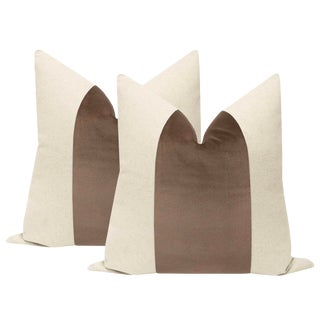 "22"" Truffle Velvet Panel & Linen Pillows - a Pair For Sale"