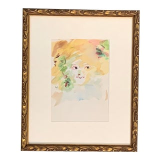 Beautiful Original Vintage 1950's Impressionist Watercolor Painting, Girls Face For Sale