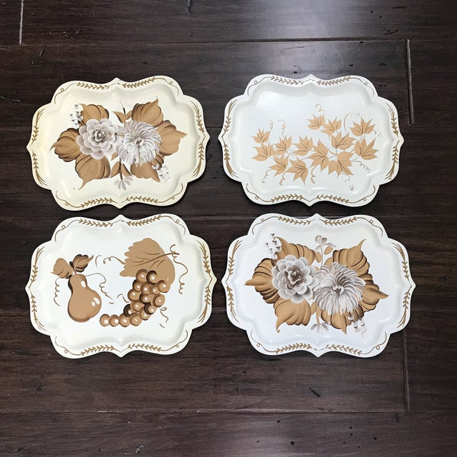 20th Century Cottage Hand Painted Tole Trays - Set of 4 For Sale In Charlotte - Image 6 of 6