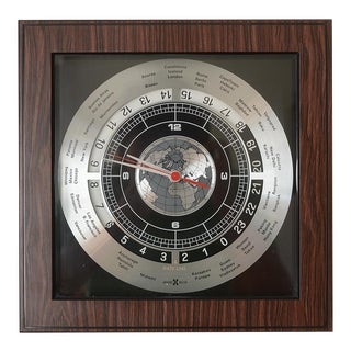 Mid Century Modern Howard Miller World Time Clock For Sale