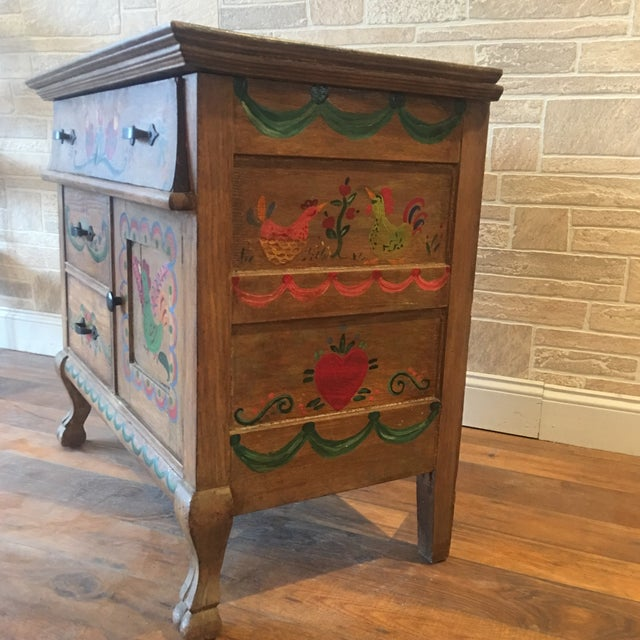 Early 21st Century Dutch Folk Art Painted Oak Chest For Sale - Image 4 of 13