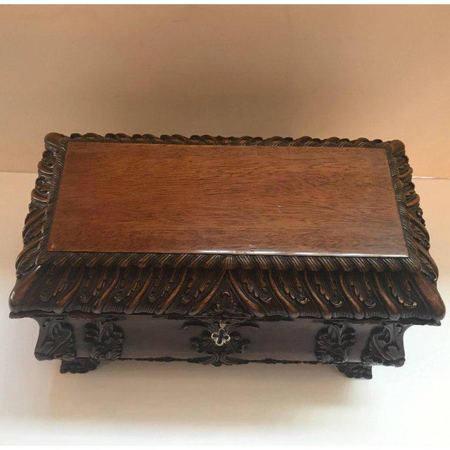 1990s Maitland-Smith Carved Mahogany Hinged Tea Caddy Box For Sale - Image 10 of 13