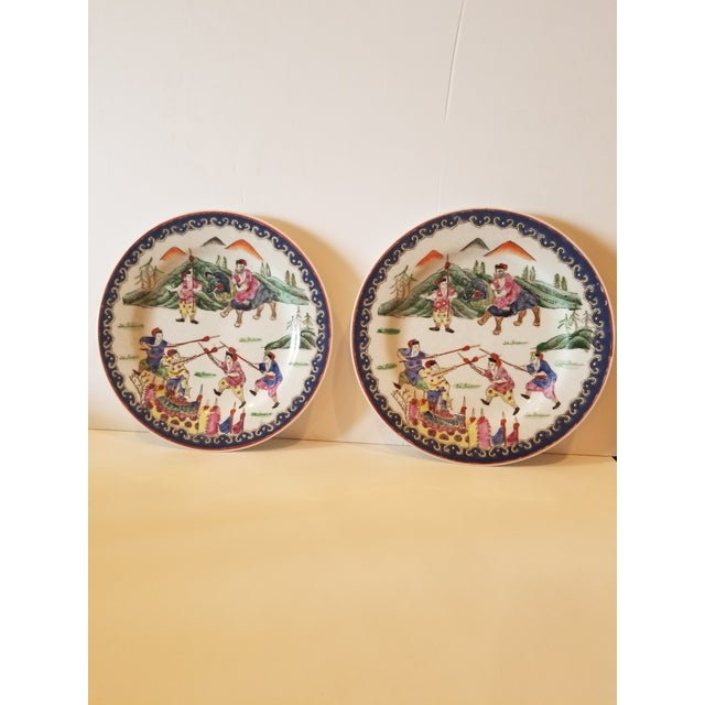 Ceramic Pair of Decorative Chinese Plates For Sale - Image 7 of 7