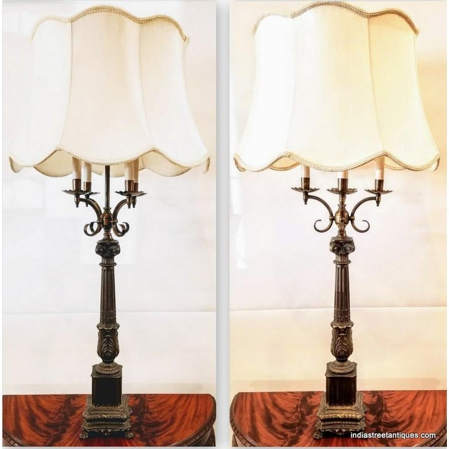 French Pair Vintage 1920s French Empire Style Candelabra Table Lamps For Sale - Image 3 of 10