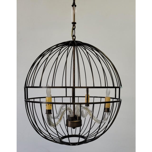 Paul Marra Design Metal Sphere Chandelier with oil rubbed bronze steel frame enclosing four glass arms, custom chain made...