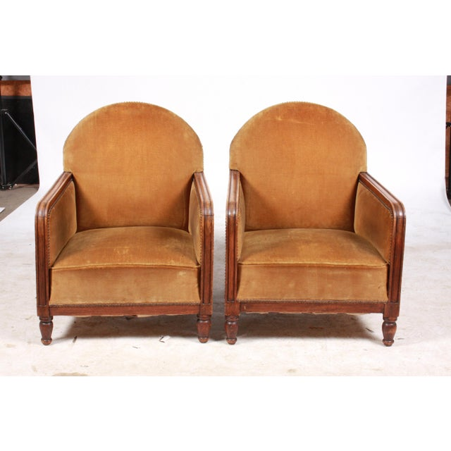 1940s Art Deco-Style Club Chairs Pair For Sale - Image 10 of 10