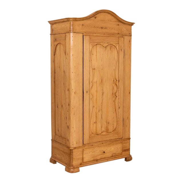 Antique Pine Single Door Armoire With Curved Panels For Sale