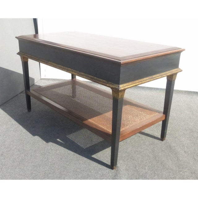 Hollywood Regency Black & Gold Crackle Finish Library Console Table For Sale - Image 5 of 11