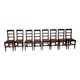Italian Solid Walnut Dining Chairs - Set of 8