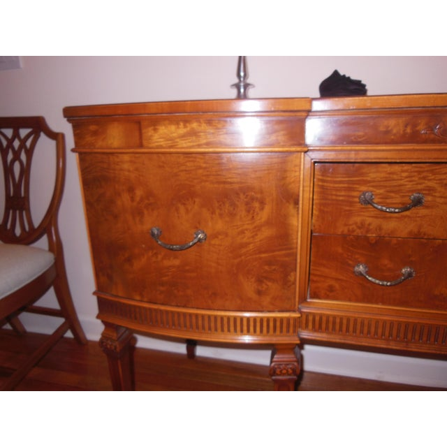 French Provincial 1930's Myrtlewood Buffet (2 of 3) For Sale - Image 3 of 11