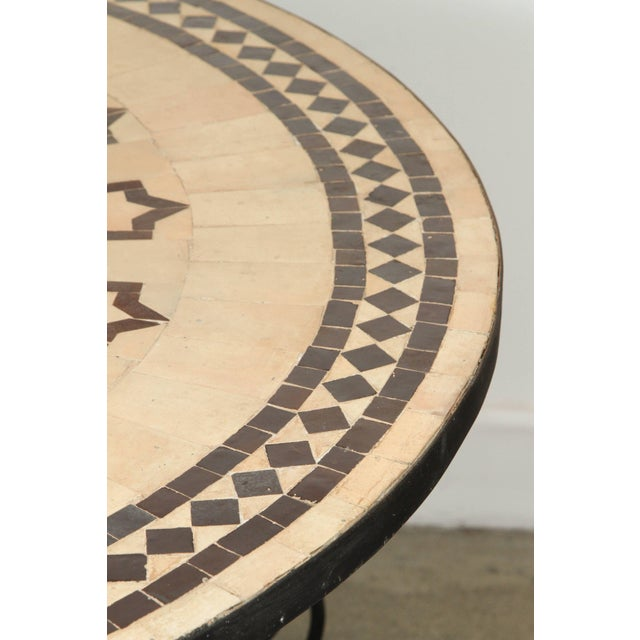 Black Moroccan Round Mosaic Outdoor Tile Table on Iron Base 47 In For Sale - Image 8 of 10