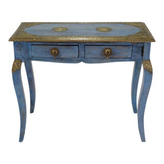Indian Brass Inlaid Console Table For Sale