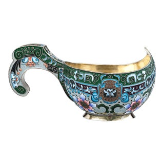 Russian Enamel Kovsh For Sale