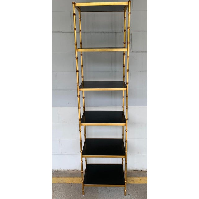 Modern Gilt Metal & Lacquered Faux Bamboo Étagère in the Style of Maison Jansen For Sale - Image 3 of 10