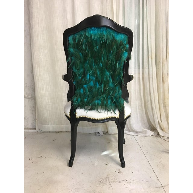French Modern Teal Feather Chair For Sale - Image 3 of 7