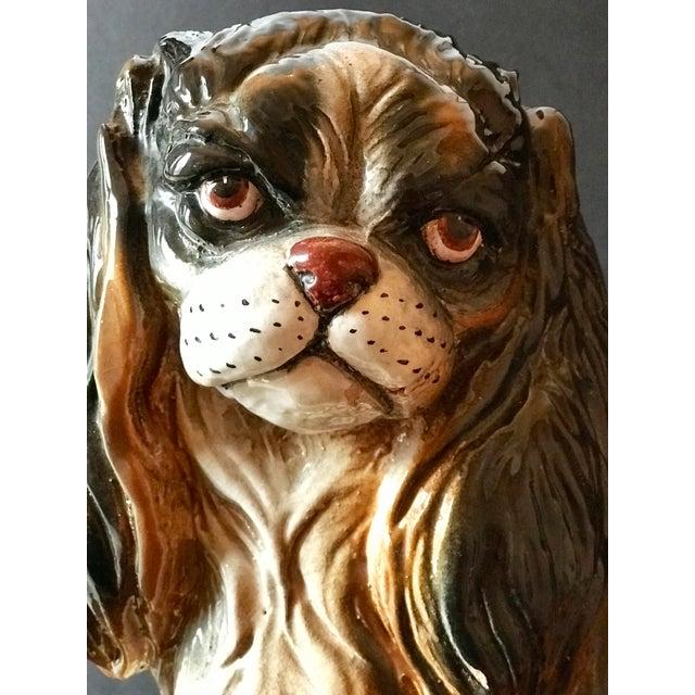 Italian Italian Mid-Century Terracotta Life Size King Charles Spaniel Dog Sculpture For Sale - Image 3 of 9