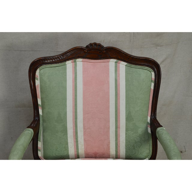 Green French Louis XV Style Custom Quality Fauteuil Arm Chair For Sale - Image 8 of 13