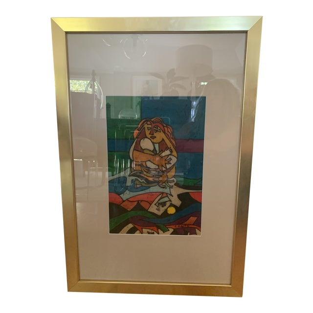 """1970s Modern """"Mother and Child"""" Art by Canto For Sale"""